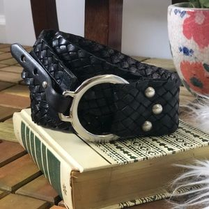 Accessories - Black Leather Wide Plaited O Ring Belt